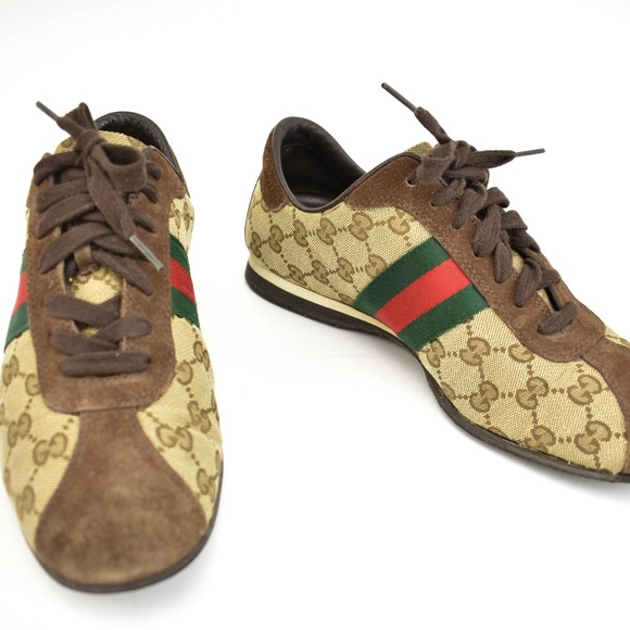 b8baaaeb23e6 Gucci Shoes   Beige Gg Logo Web Stripe Sneakers   Poshmark